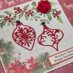 Kartka na Boże Narodzenie z bombkami z boku