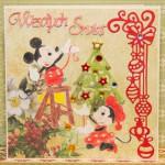 Kartka na Boże Narodzenie z Myszką Miki i Myszką Minnie przód